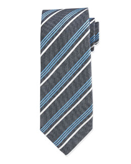 Multi-Striped Silk Tie, Aqua
