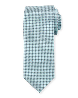 Bubble-Print Silk Tie, Light Blue