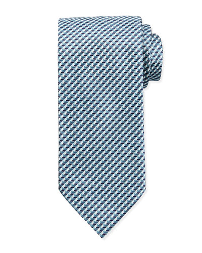 Triangle-Print Neat Tie, Light Blue