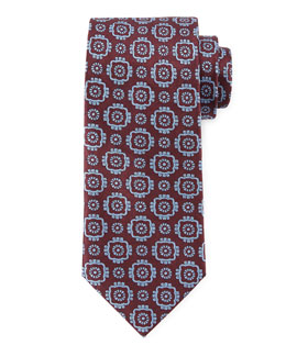 Large Medallion-Print Woven Tie, Burgundy