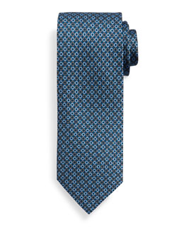 Circle Patterned Silk Tie, Blue