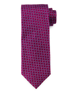 Grid-Box Pattern Silk Tie, Burgundy