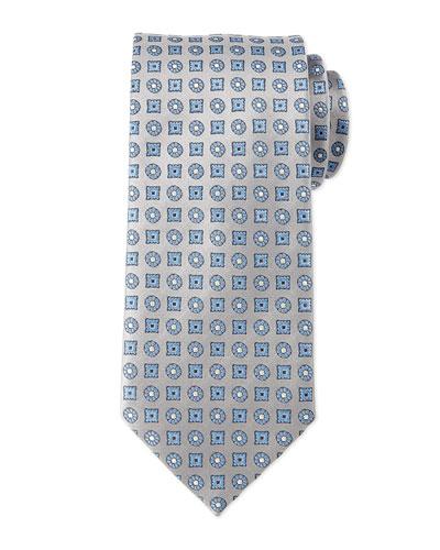 Circle and Square Medallion Tie, Silver/Blue