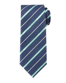 Striped Honeycomb-Pattern Tie, Navy/Green