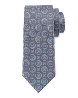 Large Medallion-Print Woven Tie, Gray