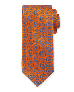 Large Medallion-Print Woven Tie, Orange