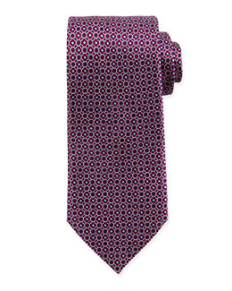 Diamond Octagon-Print Silk Tie, Magenta