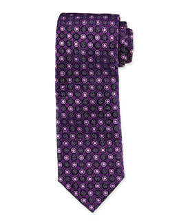 Neat Octagon-Medallion Silk Tie, Purple