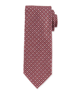 Checkerboard Box-Patterned Tie, Pink