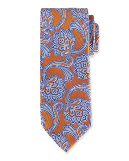 Paisley Silk Tie, Orange