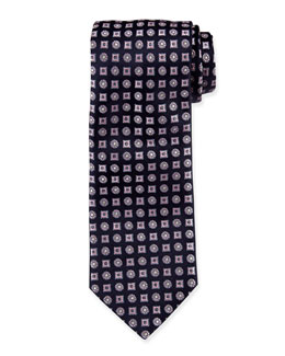 Circle & Square Medallion Pattern Tie, Navy