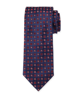 Circle & Square-Medallion Silk Tie, Blue