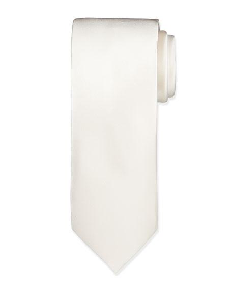 Brioni Solid Silk Satin Tie, Off White