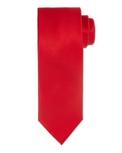 Solid Silk Satin Tie, Red