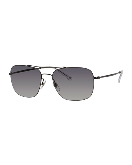 Semi-Matte Metal Aviator Sunglasses, Black