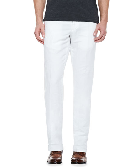 Chinolino Cotton/Linen Trousers, White