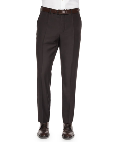 Incotex Benson Sharkskin Wool Trousers, Dark Brown