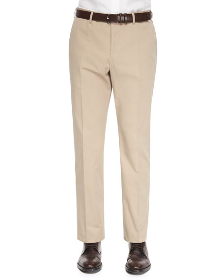 Straight-Leg Cotton Trousers, Khaki