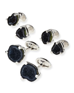 Druzy Agate Cuff Link & Stud Set, Black