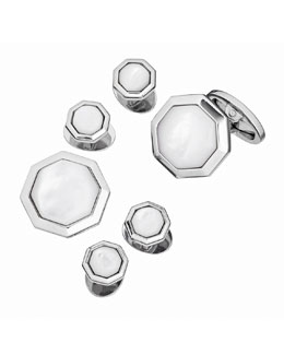Mother-of-Pearl Octagonal Cuff Link & Stud Set