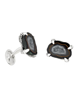 Druzy Agate Claw Cuff Link, Black