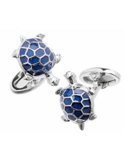 Blue Turtle Cuff Links