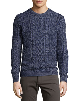 Marled Cable-Knit Crewneck Sweater, Navy