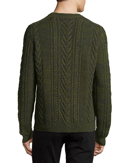 Marled Cable-Knit Crewneck Sweater, Green