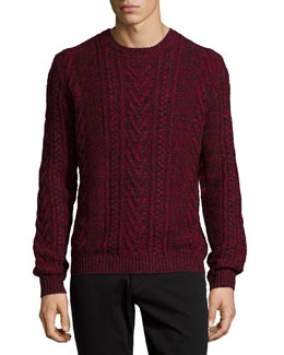 Marled Cable-Knit Crewneck Sweater, Red