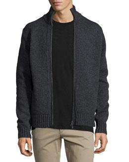 Full-Zip Wool/Cashmere Cardigan, Black