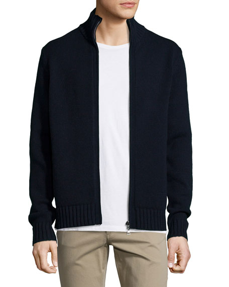 Full-Zip Wool/Cashmere Cardigan, Navy
