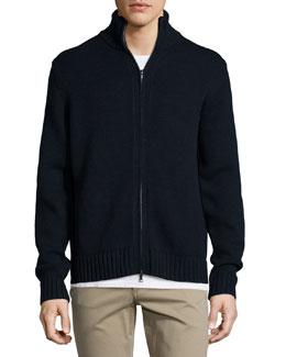 Full-Zip Wool/Cashmere Cardigan, Navy