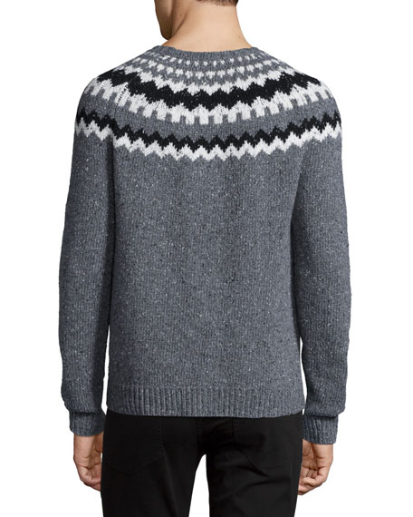 Nordic Wool-Blend Crewneck Sweater, Charcoal