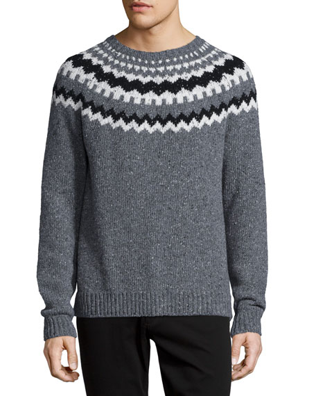 Nordic Wool-Blend Crewneck Sweater, Charcoal