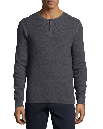 Thermal Henley Sweater, Charcoal