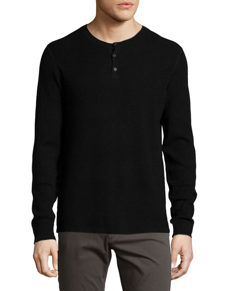 Thermal Henley Sweater, Black