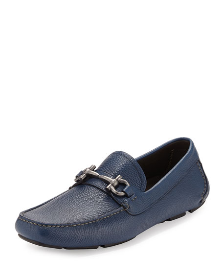 Leather Gancini Driver, Blue