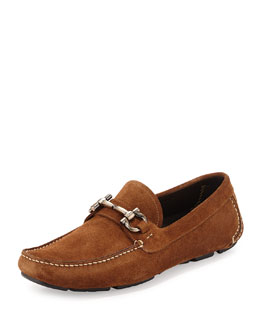 Parigi Suede Gancini Driver, Cola Brown