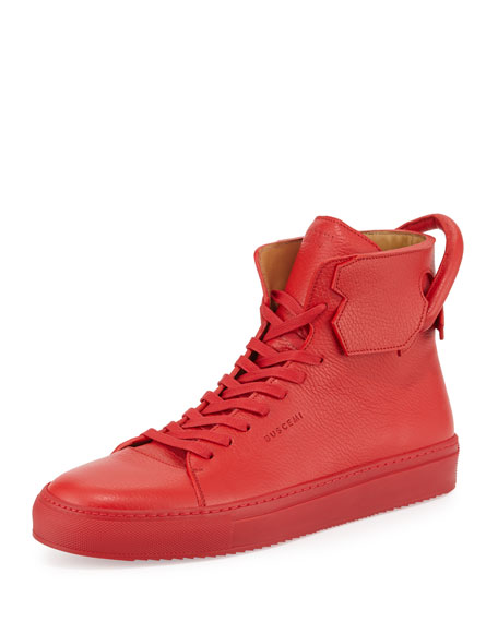 Buscemi 125mm Leather High-Top Sneaker, Red