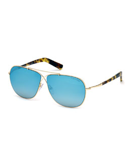 Lightweight Aviator Sunglasses, Rose Gold/Blue