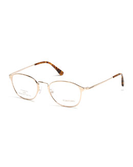 Titanium/Metal Eyeglasses, Rose Gold/Brown