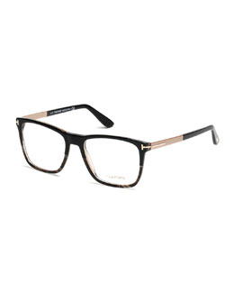 Square Black Horn Eyeglasses, Black/Rose Gold