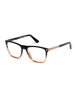 Square Gradient-Frame Eyeglasses, Black/Brown
