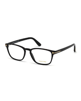 Shiny Acetate Round Eyeglasses, Black