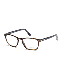 Transparent Havana Eyeglasses, Brown/Blue