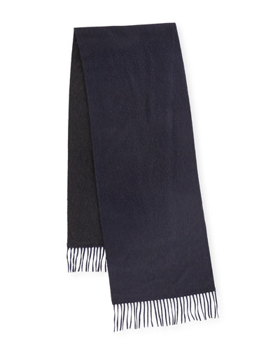 Reversible Cashmere Scarf w/Fringe, Navy/Charcoal