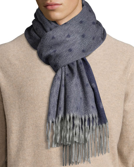 Graduated Spot Cashmere Scarf w/Fringe, Navy