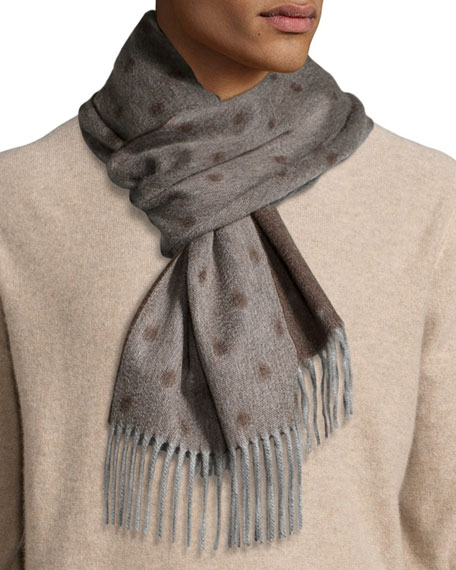 Graduated Spot Cashmere Scarf w/Fringe, Brown