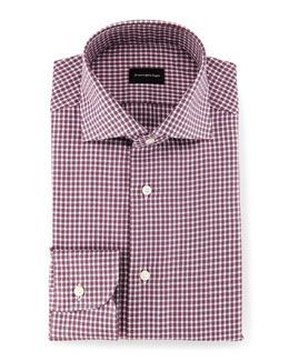 Box-Check Twill Sport Shirt, Burgundy