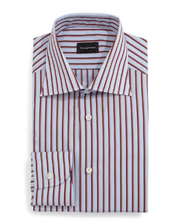 Wide-Stripe Woven Dress Shirt, Light Blue